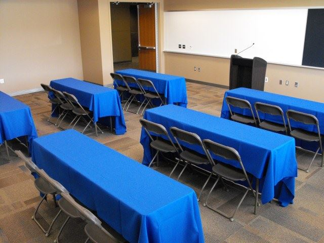 Tables with blue cloths